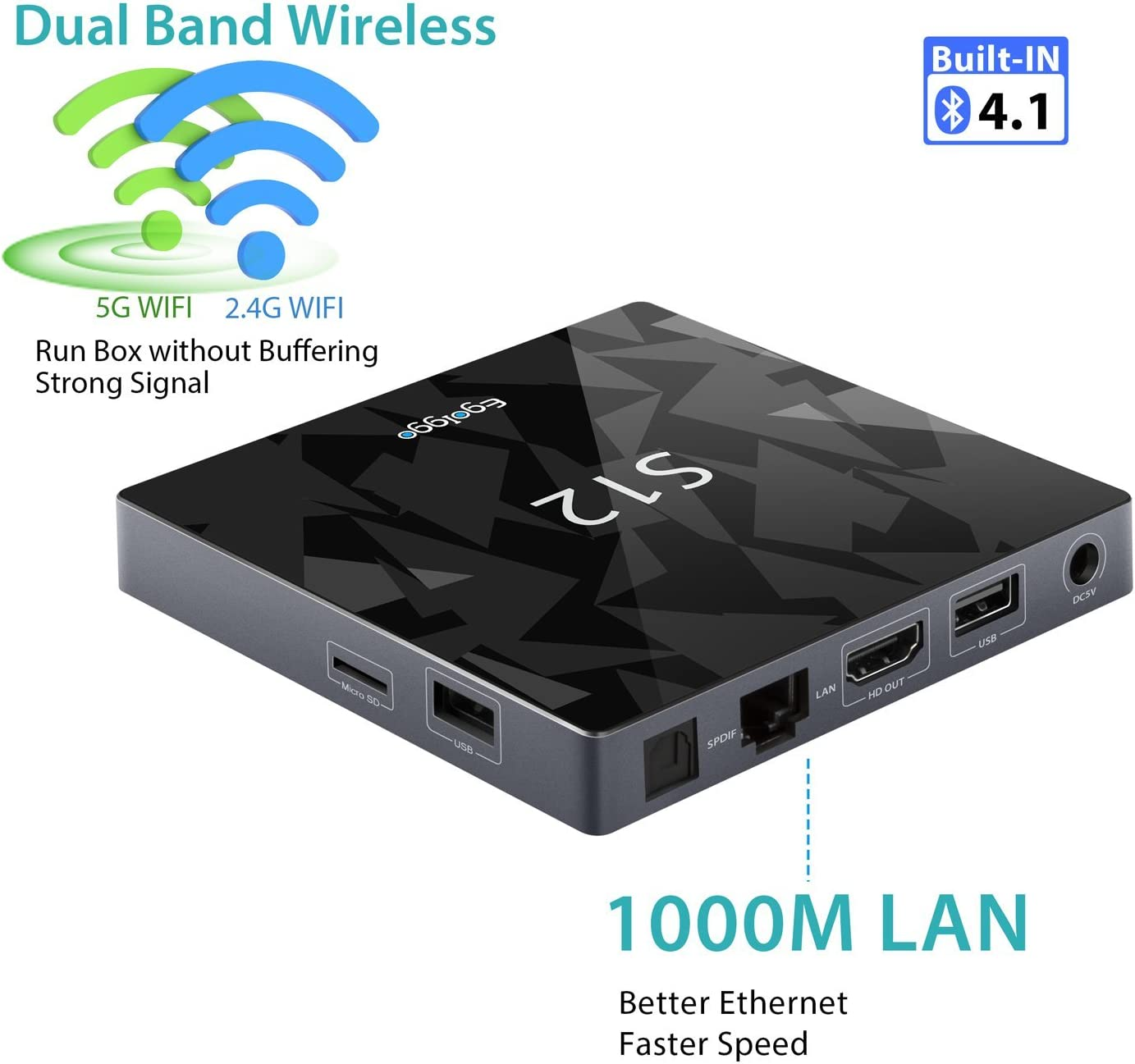 Android 6.0 TV Box-TICTID S12 android box Amlogic S912 Qcta Core Arm Cortex-A53 CPU / 2G DDR3 + 16G Emmc/2.4G+5G WiFi / 1000M LAN/Bluetooth 4.1 /4K Smart Box: Amazon.es: Electrónica