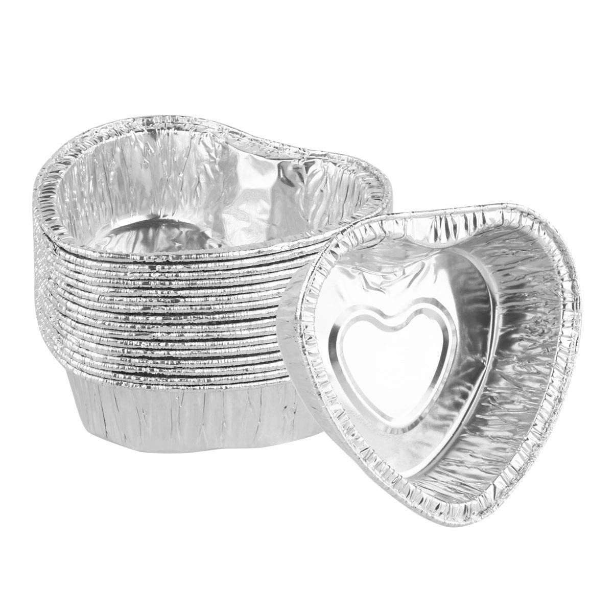 FEESHOW 60pcs Heart Shaped Aluminum Foil Disposable Baking Ramekins, Mini Baking Cup Muffin Cupcake Liners Silver One Size
