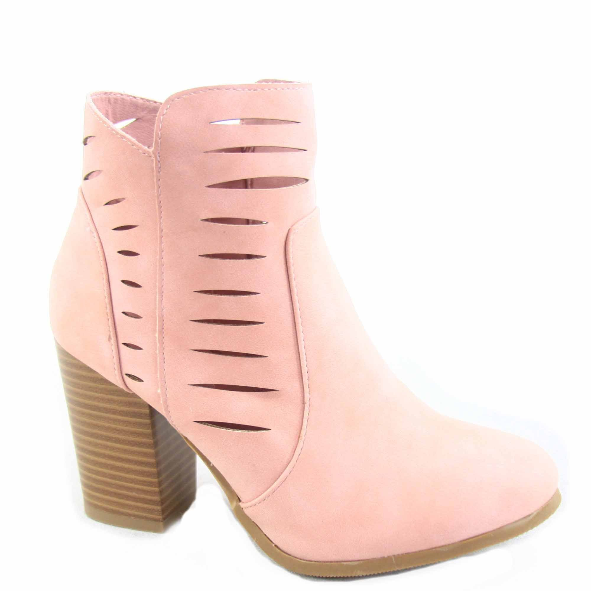 Top Moda Pavia-1 Women's Fashion Round Toe Chunky Heel Cut Out Ankle Booties Shoes (8.6 B(M) US, Blush)
