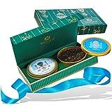 VAHDAM, Set da tè set da regalo - 2 TASTI - Scatole d'oro rotonde confezionate in una lussuosa scatola di presentazione | Il miglior regalo per San Valentino per lui