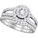 14k White Gold Round Diamond Bridal Wedding Engagement Ring Band Set 1.00 Cttw = 1 (I1 clarity; H color)