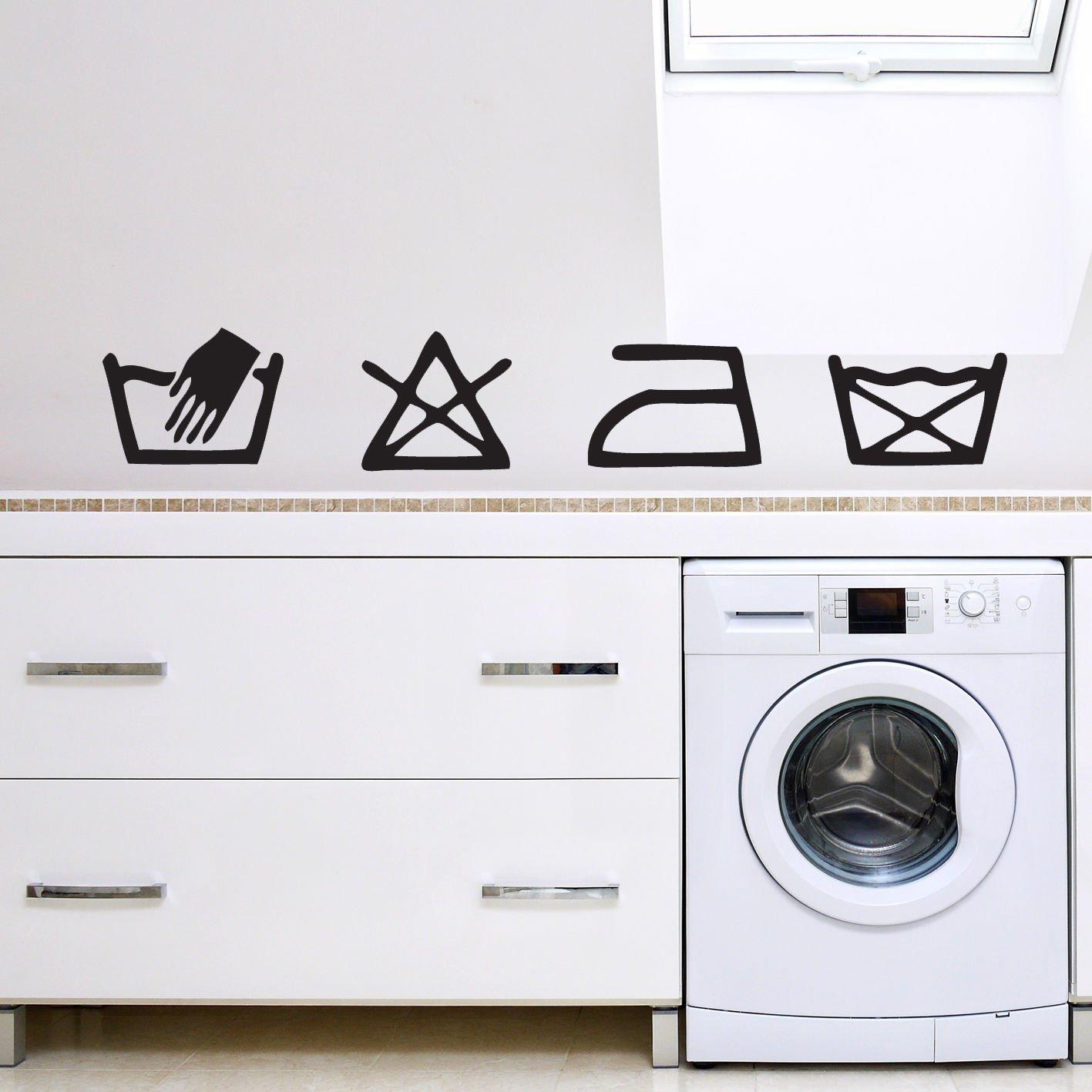 Lavandería Lavado símbolos utilidad cocina pared arte vinilo ...