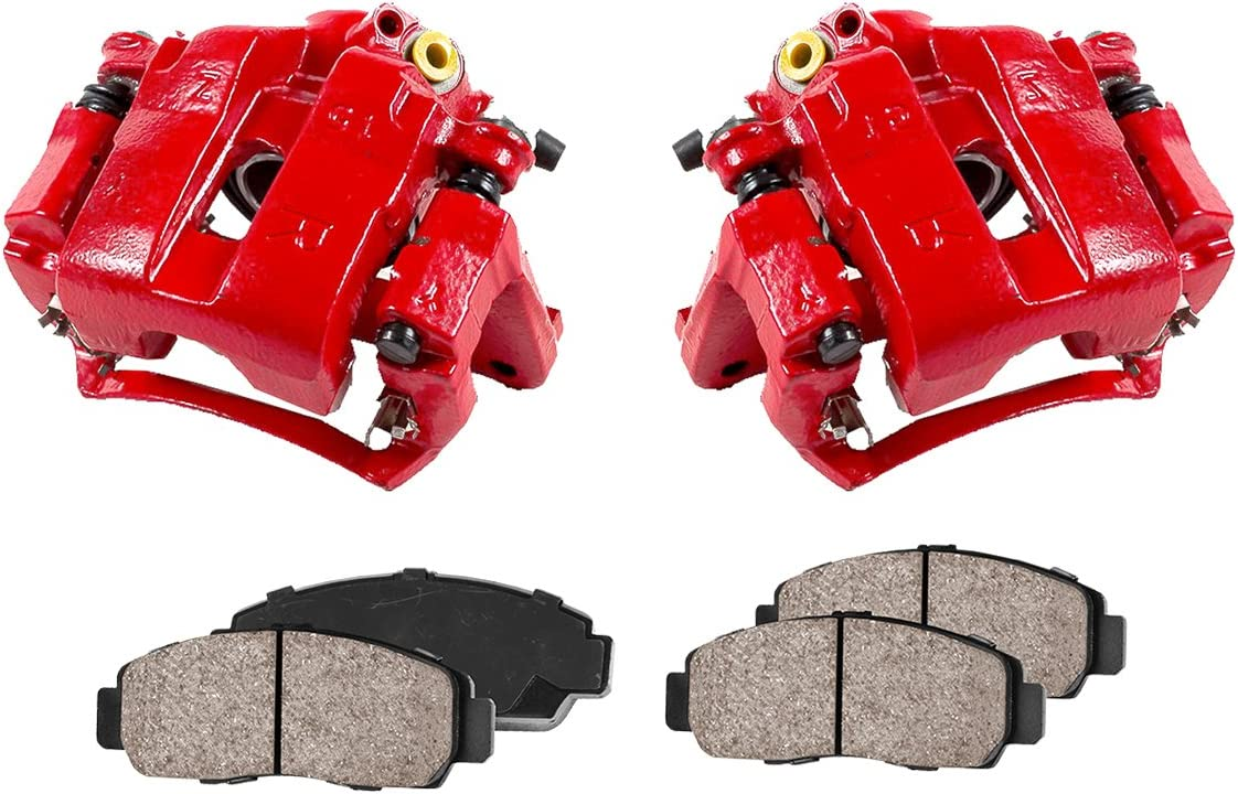 Callahan CCK11775 Quiet Low Dust Ceramic Brake Pads 2 FRONT Performance Loaded Powder Coated Red Caliper Assembly
