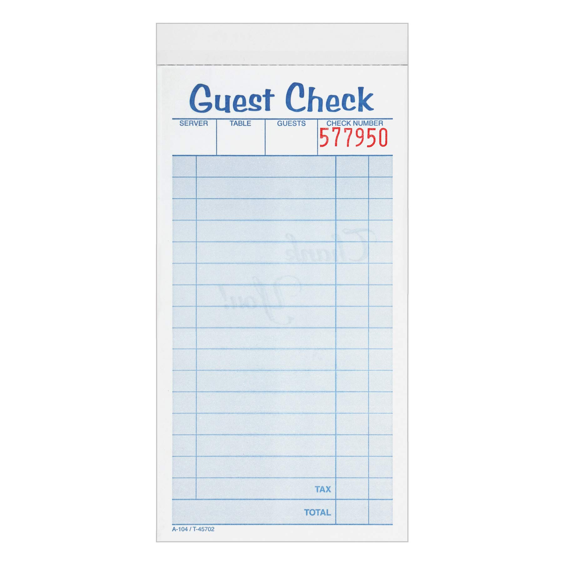 Adams Guest Check Pads, 2-Part, Carbonless, White/Canary, 3-3/8'' x 6-3/8'', 50 Sets/Pad, 10 Pads/Pack (104-50SW)