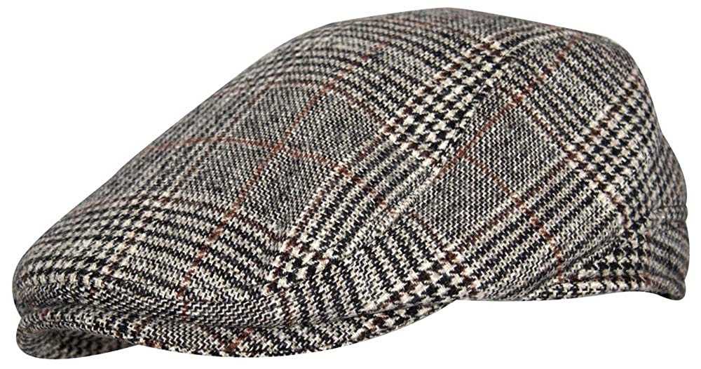 Heritage Traditions Brown Check Prince of Wales Tweed Flat Cap
