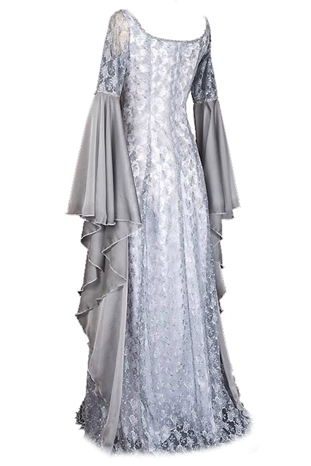 Women\'s Halloween Irregular Long Dress White Medieval Renaissance Dress  Plus Size