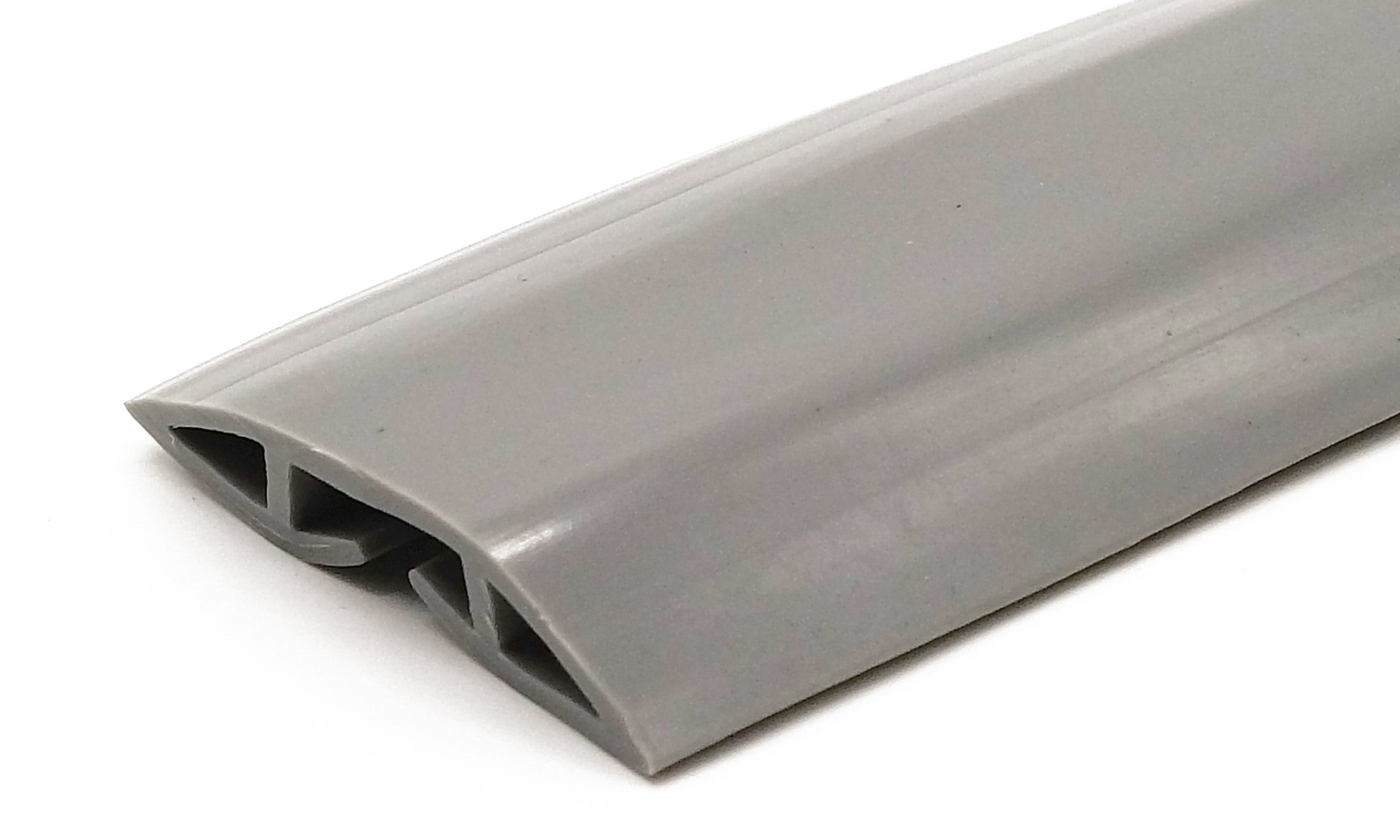 Gray PVC Floor Cord Protector - 2 Meters (6 Feet 6 Inches) in Length - Flexible to Cover Cables, Cords and Wires - Great for the Home, Office, Warehouse or Concerts - Easy to Unroll and Open