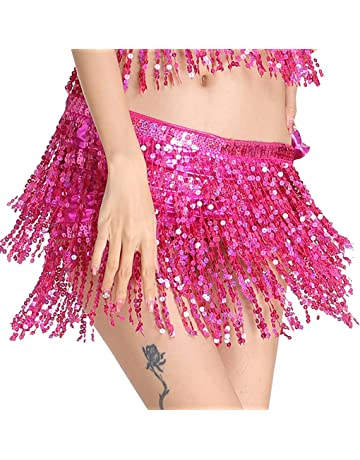 fabc47f045 MUNAFIE Women's Belly Dance Hip Scarf Performance Outfits Skirt Festival  Clothing