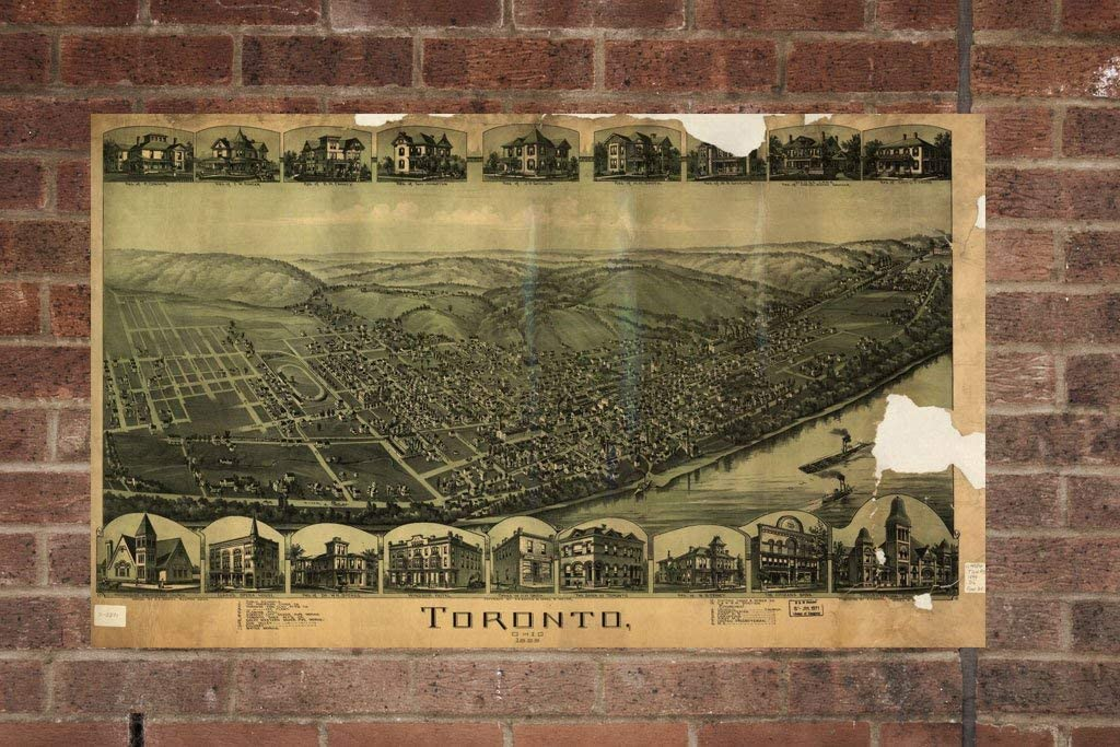 Home Decor Old Toronto Photo Historical Vintage Toronto OH 1899 Wall Art Aerial Toronto Photo Retro Printing Company Vintage Toronto Map