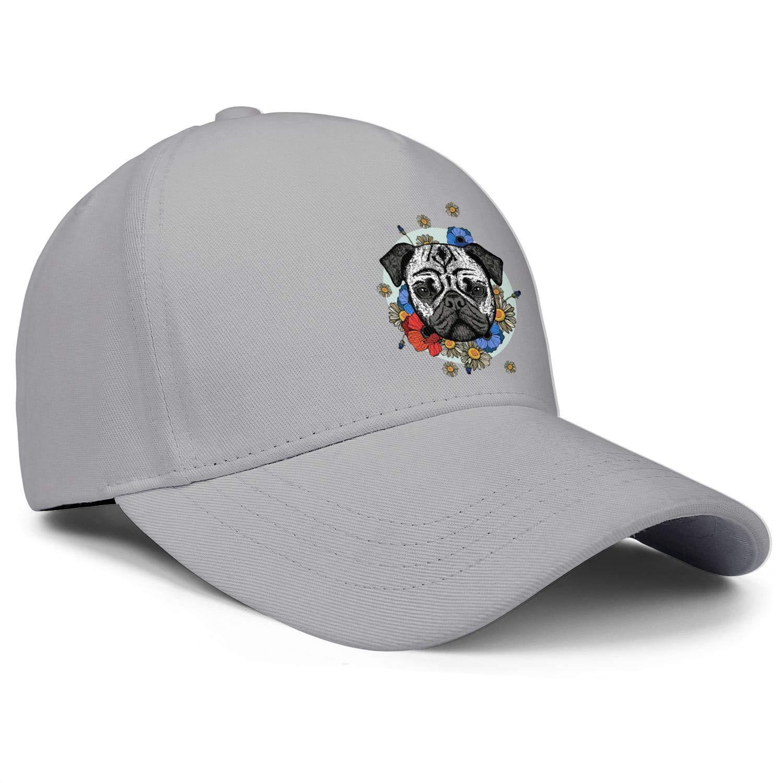 Cute Pug Dog with Flowers Pug Puppies Unisex Baseball Cap Breathable Sport Baseball Hats Adjustable Trucker Caps Dad-Hat