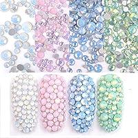 Egurs 1400 stuks nagelkristallen AB Nail Art strass platte achterkant glitter pailletten glas charms edelstenen voor nageldecoratie, 6 maten, 4 kleuren wit groen blauw roze