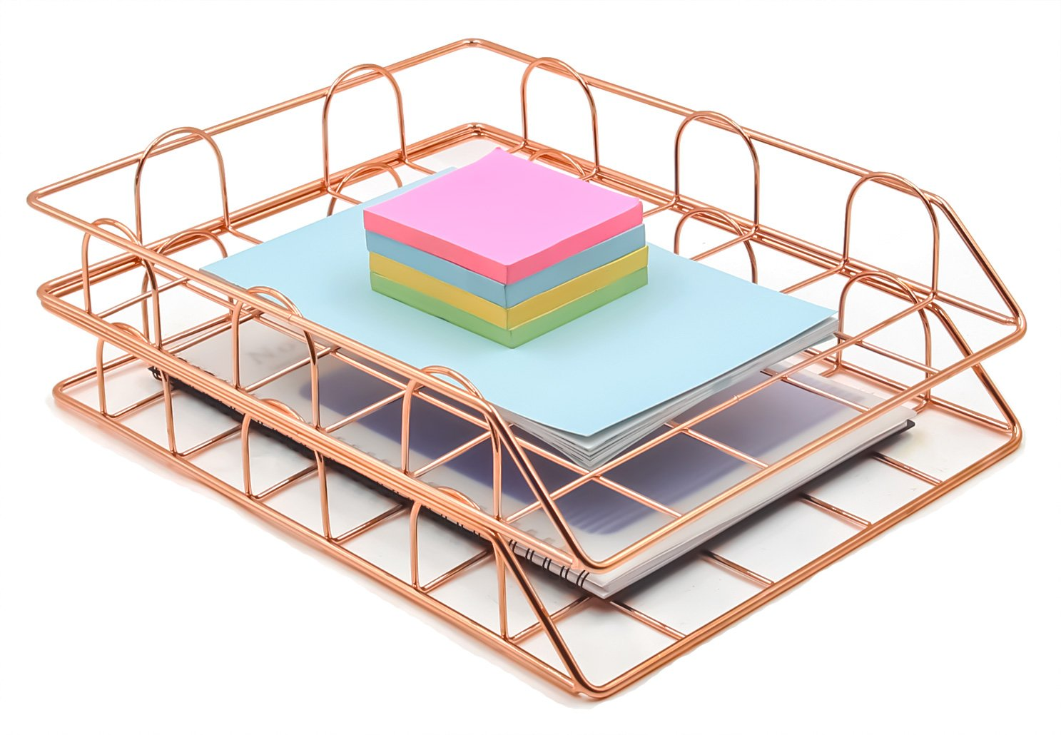 Superbpag Set of 2 Office Supplies Metal Stackable File Document Letter Tray Organizer, Rose Gold