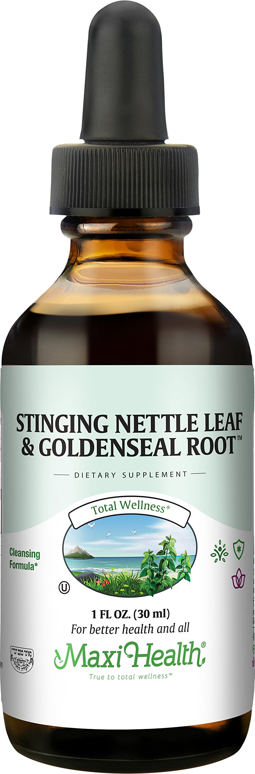 Maxi Health Stinging Nettle Leaf Extract - with Goldenseal Root - 1 Fluid Ounce Bottle - Kosher