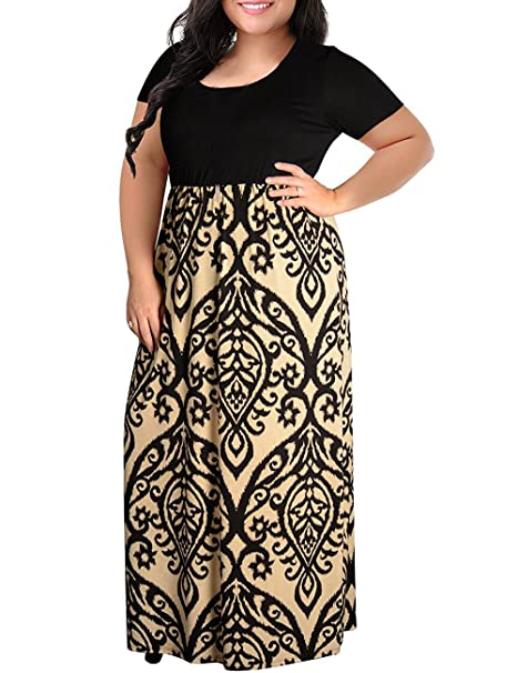 Kancystore Women Plus Size Maxi Dresses Chevron Print Summer Short Sleeve  Casual Long Dress