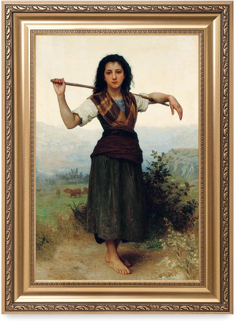 DECORARTS - 'The Shepherdess' by William-Adolphe Bouguereau. Oil Painting Reproduction, Giclee Print on Canvas. Ready to Hang Framed Wall Art for Home and Office Decor. Total Size w/Frame: 22x30