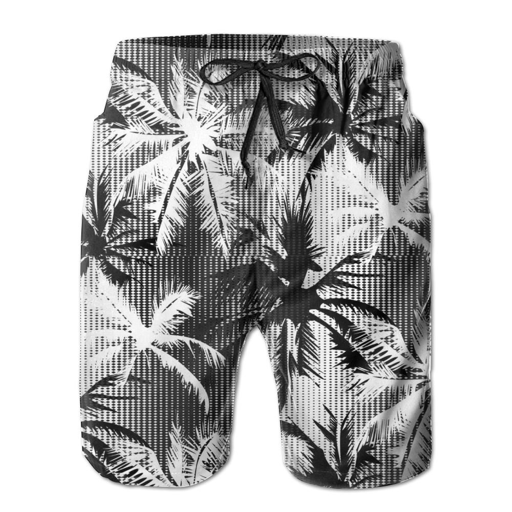 AA WIU Black Palm Trees Mens Summer Quick Dry Swim Trunk Drawstring Surf Board Shorts Swimwear