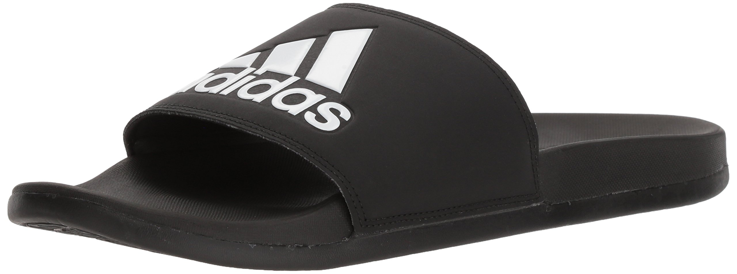 adidas Men's Adilette Comfort Slide Sandal, Black/Black/White, 12 M US by adidas