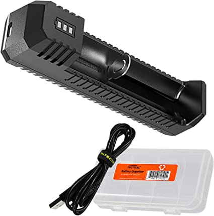 Intelligent Single Slot Battery Charger For Li-Ion 18650 16340 Rechargeable USB