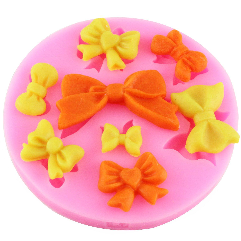 Mujiang 8 Mini Bows Fondant Mold Silicone Sugar Craft Cake Decorating Molds