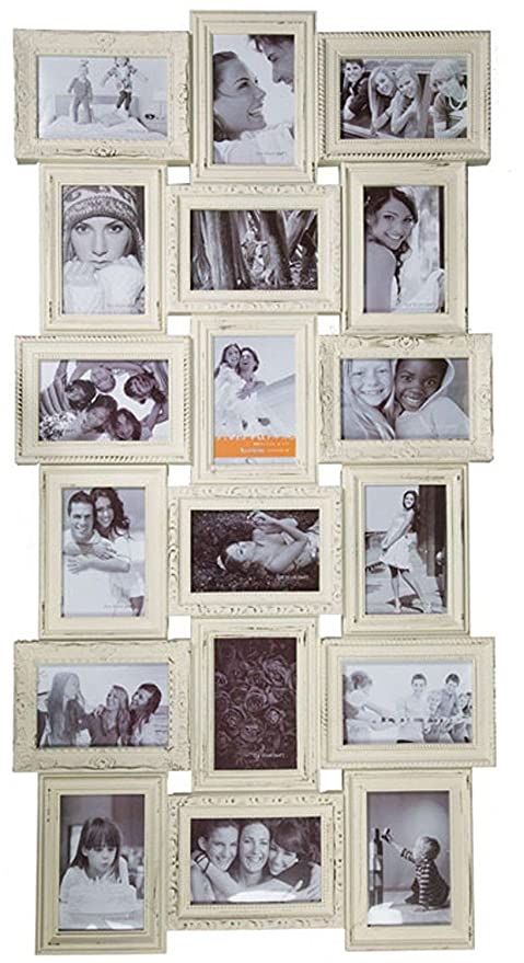 Ivory 18 Photos Large Multi Aperture Photo Picture Frame Holds 6x4