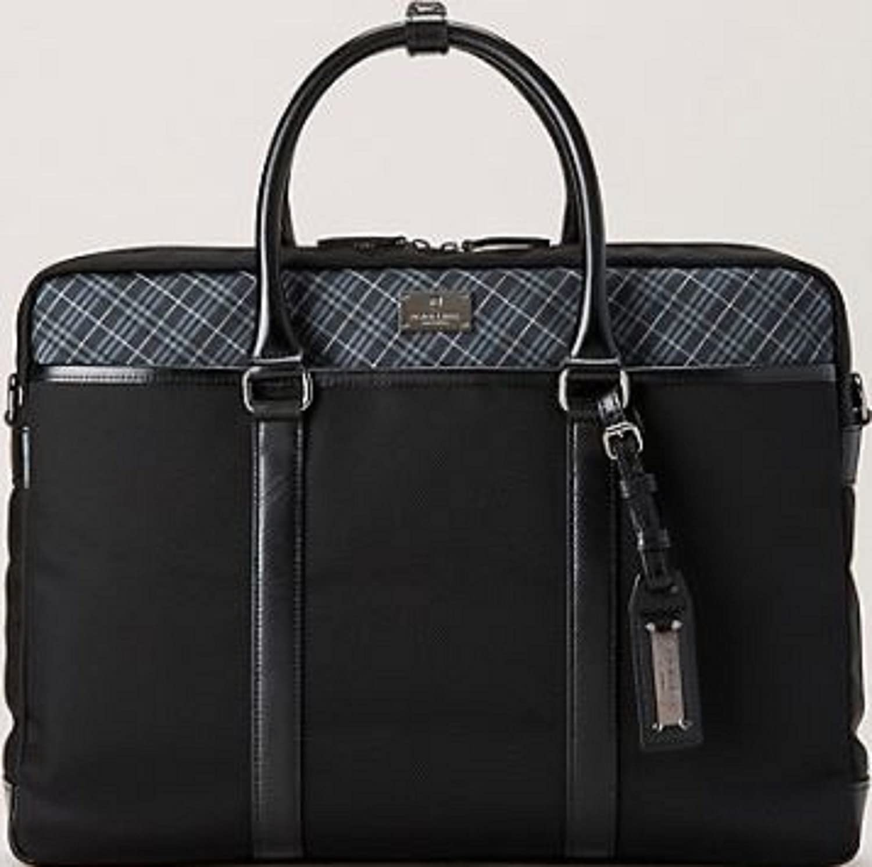 ブラックレーベル クレストブリッチ バッグ メンズ フロントマイクロチェック ブリーフケース バッグ バーバリー ライセンス商品 B017OY5XLUブラック