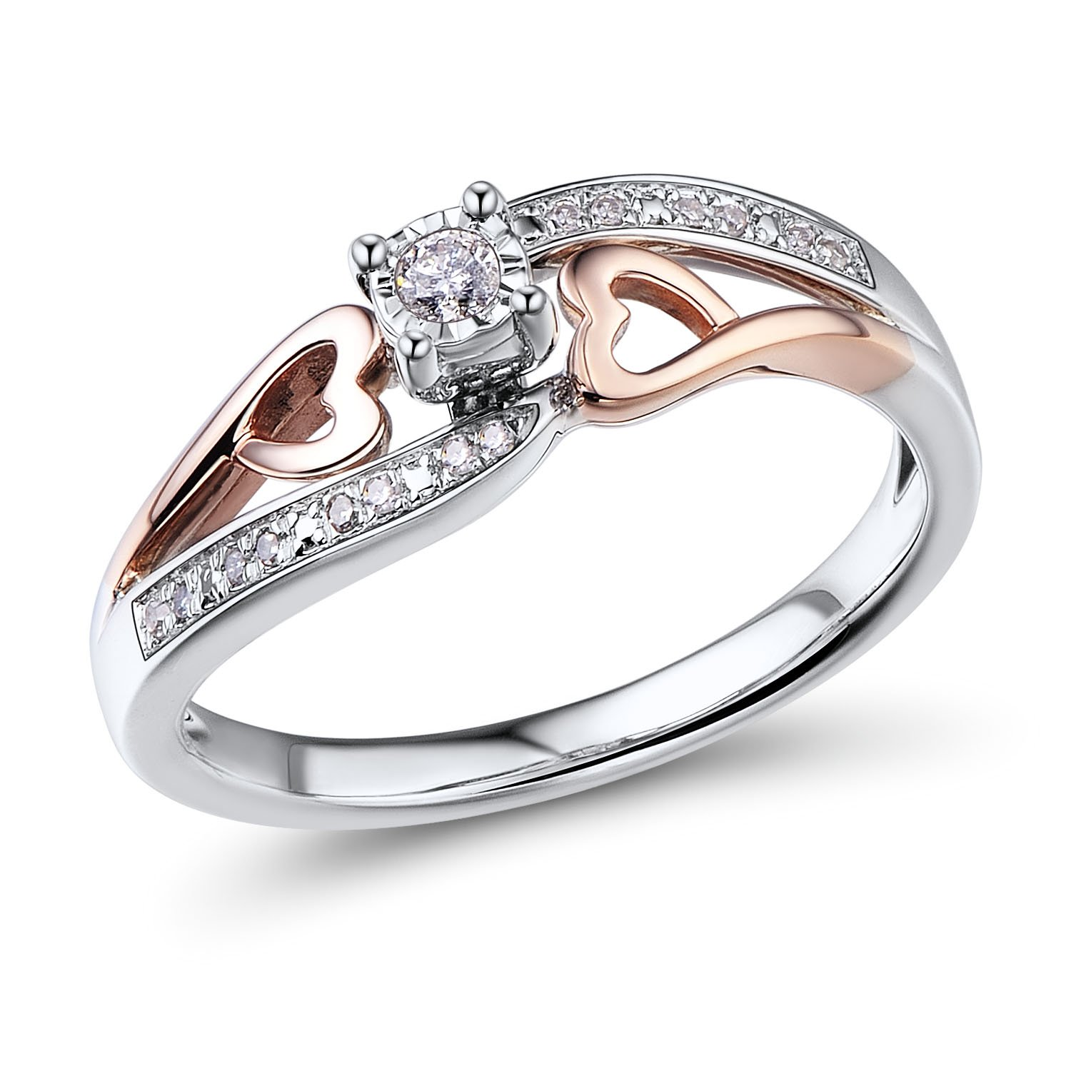 Diamond Promise Ring in 10k Rose Gold and Rhodium Plated Sterling Silver 1/10 cttw