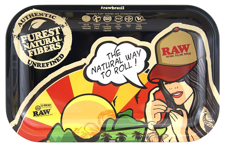 Unbekannt RAW Small Brasil Metal Rolling Tray 27.5 x 17.5 cm, Black, M