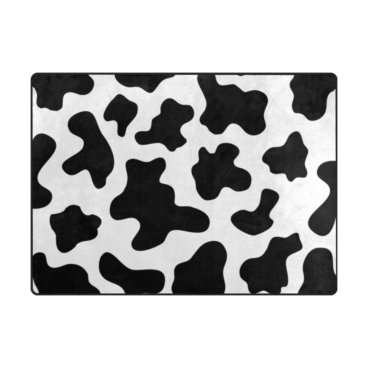 My Little Nest Black and White Cow Spot Kids Cartoon Area Rug 4'10'' x 6'8'' For Bedroom Dining Room Living Room Floor Mat Lightweight Carpet, Unique Anti Skid Indoor Outdoor Decor Soft Rug Carpets by My Little Nest (Image #1)