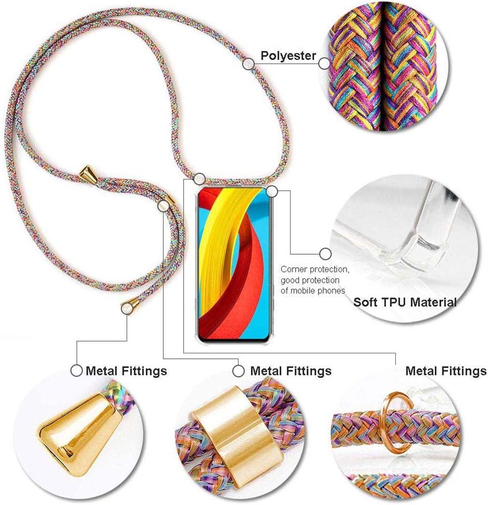 Arcoiris Case con Correa Colgante//TPU Necklace con Banda MXKOCO Carcasa de movil con Cuerda para Colgar Xiaomi Mi A2//6X con Cordon para Llevar en el Cuello
