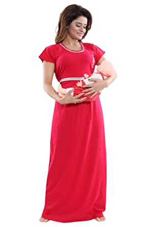 b8901743f736d Fabme Women's Hosiery, Nursing, Feeding, Maternity Long Nighty - Zip  Opening at Bust