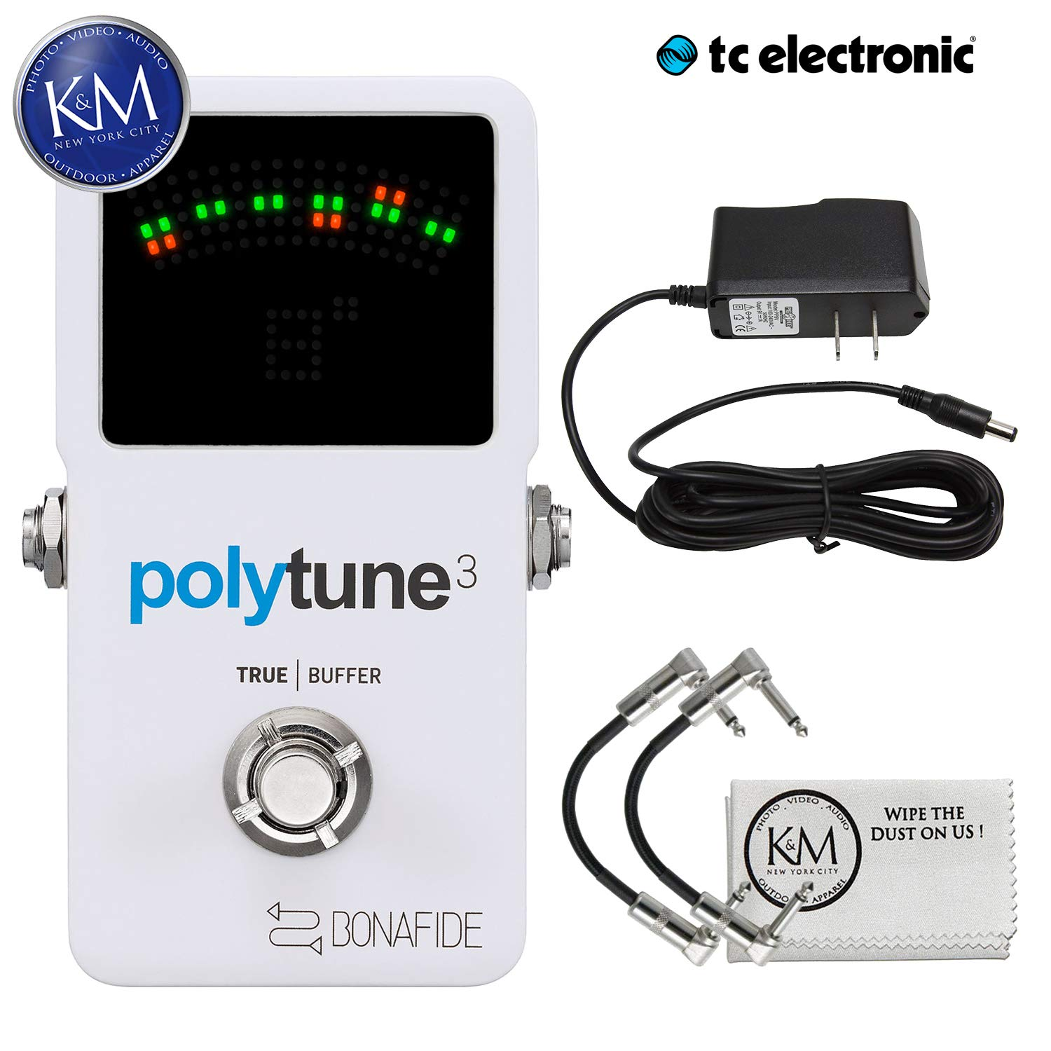 TC Electronic 966130001 PolyTune 3 Polyphonic LED Guitar Tuner Pedal with ac adapter and a Pair of Pedalboard Patch Cables