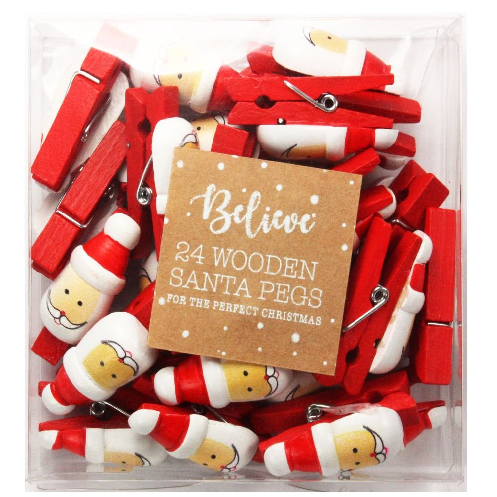 24 Pack Wooden Christmas Santa Pegs ITP