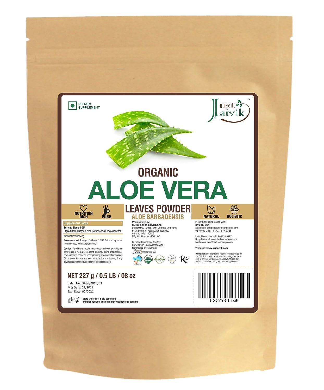 100% Organic Aloe Vera Powder - 227g /0.5 LB USDA Organic Certified (Aloe Barbadensis) for