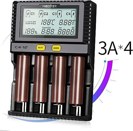 C4 Surophy Batterieladegerät Akku Ladegerät Universal LCD-Display 4 Schacht P