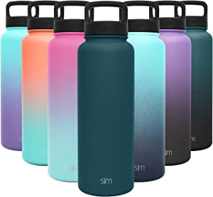 Simple Modern 40 Ounce Summit Water Bottle - Stainless Steel Liter Flask +2 Lids - Wide Mouth Tumbler Double Wall Vacuum Insulated blue Leakproof -Riptide