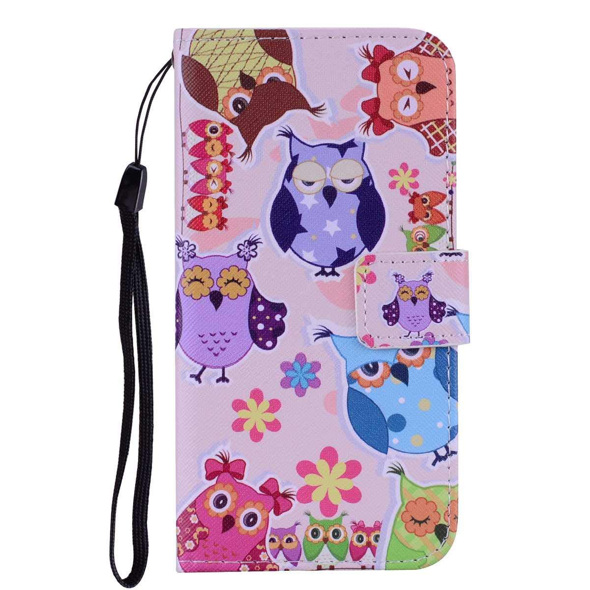 Coque iPhone X/iPhone XS, SONWO Modèle de Dessin Animé Mignon PU Cuir Rabat Portefeuille Etui avec La Fonction Stand et Fente pour Carte pour Apple iPhone X/iPhone XS, Owl-2