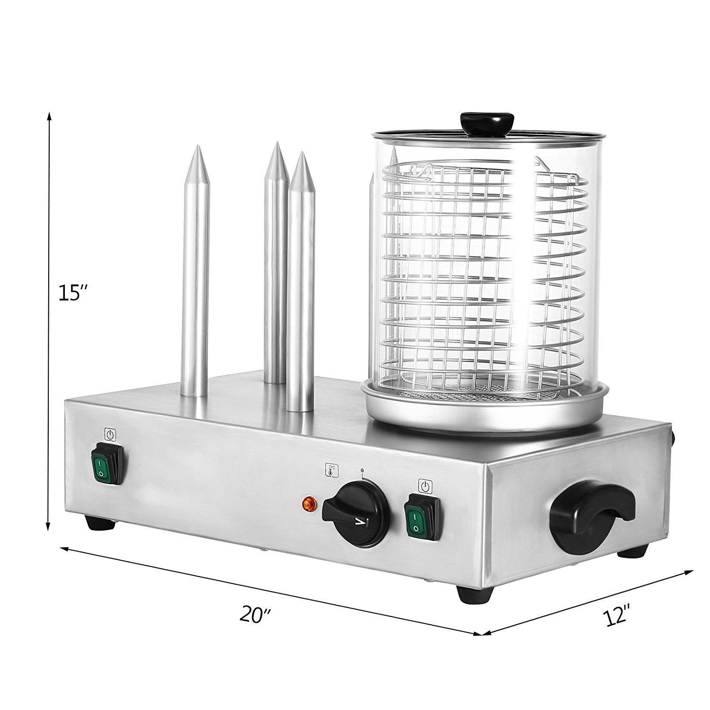 Autovictoria Hot Dog Machine Máquina de perritos calientes con 4 pinchos 2 x 300W Vapor eléctrico caliente del perro Tiene hasta 240 mm de largo ...