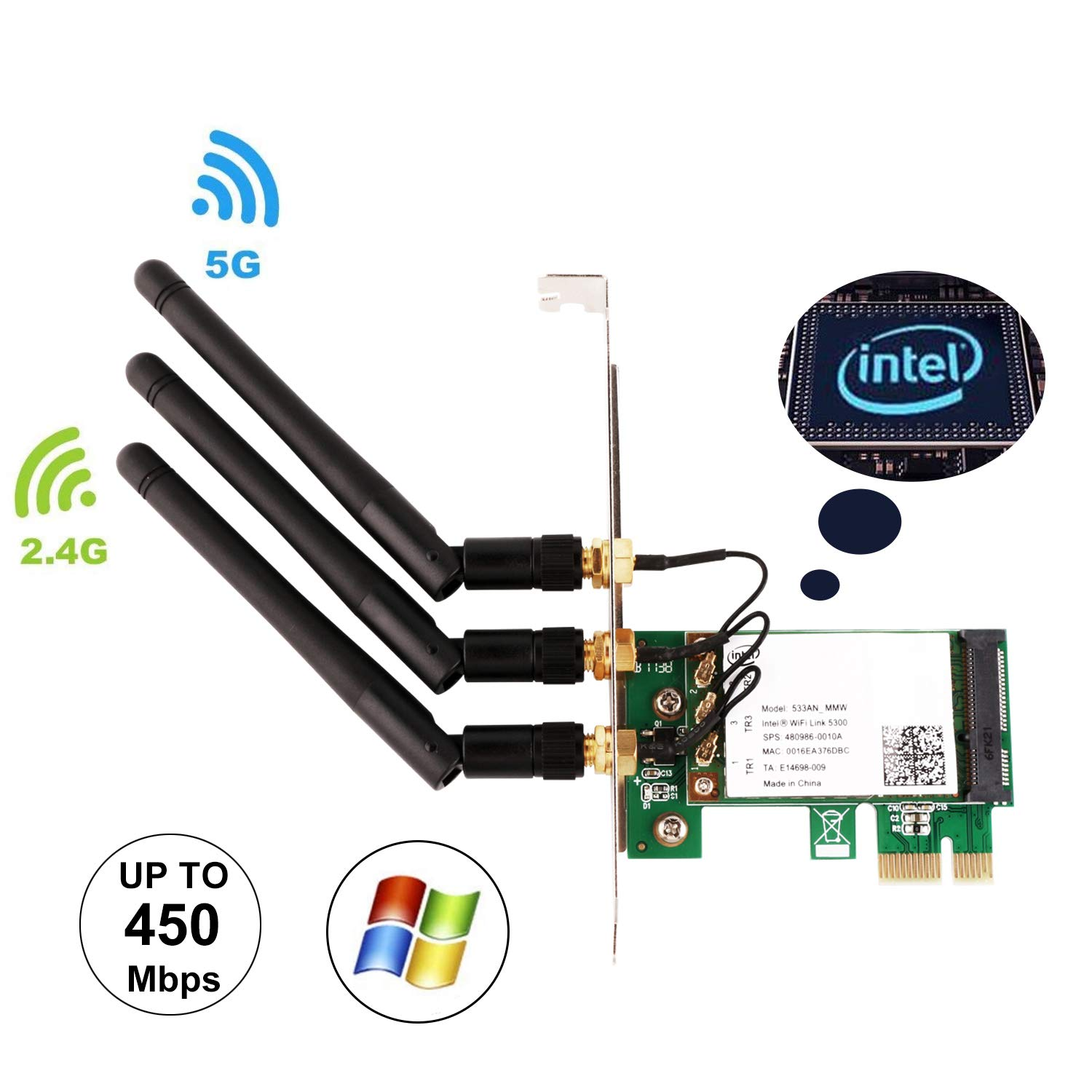 Amazon.com: Ubit WiFi Card, 450M Dual Band 5GHz/2.4GHz PCI-E ...