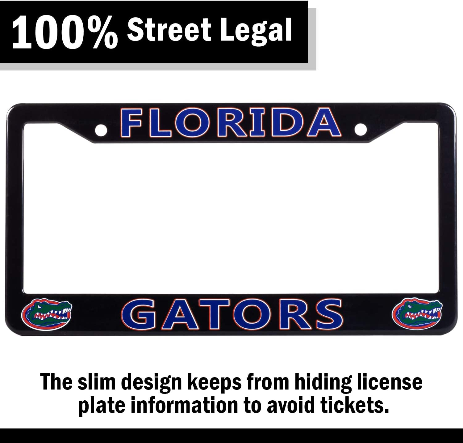 """EliteAuto3K Florida Gators License Plate Frame Cover NCAA Car Accessory Ideal Gift for Sports Fans /& Supporters Black Slim Design 12.25/"""" x 6.25/"""""""