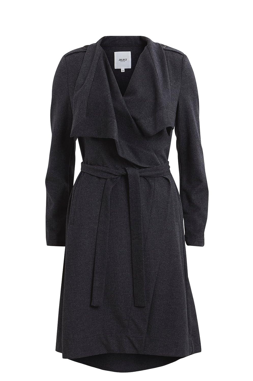 Object Ann leichter Wollmantel mit Gürtel zum binden | Trench-Coat Mantel lang