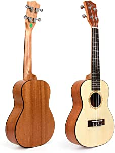 "Kmise 24"" Top Solid Spruce Concert Ukulele Hawaii Guitar professional UK-24B"