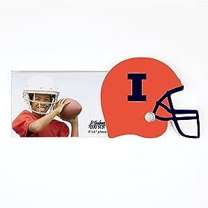 University of Illinois Logo Helmet 4 x 6 Wood and Acrylic Tabletop Photo Frame