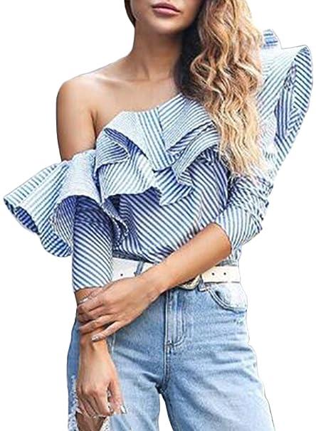 Azbro Mujer Blusa Rayada Solo Hombro con Volantes,Azul L