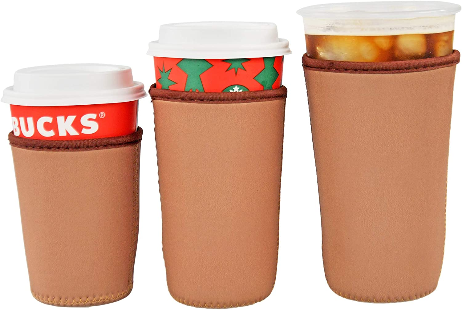 HOME-X Set of 3 Neoprene Cup Sleeves, Iced Beverage Cup Holders, Drink Sleeve Holders, Set of 3, 16oz, 22 oz, 30oz, Beige
