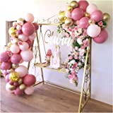 136Pcs Pink Gold Confetti Balloons, Balloon Garland Arch Kit, Pink and Gold Balloons for Parties, Birthday Wedding Party Ball