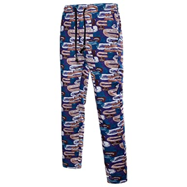 9a5b7f14792 Image Unavailable. Image not available for. Colour  Zhhlinyuan Plus Size  Summer Teens Mens Breathable Sports Casual Pants Cozy Hawaii Printing Linen  ...