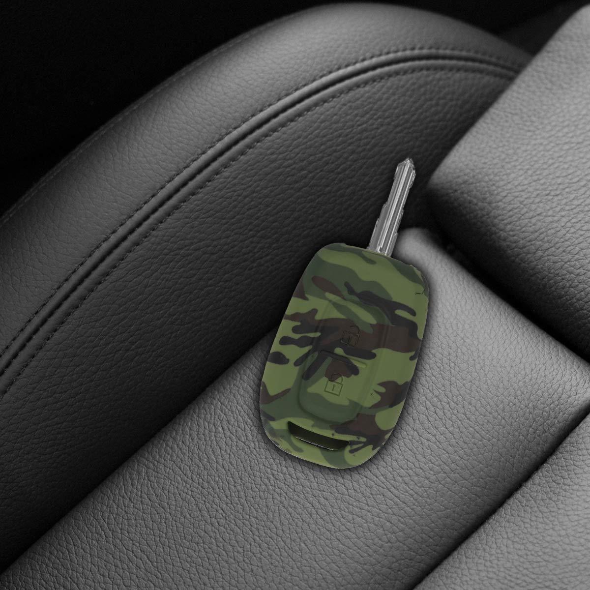 Carcasa Protectora Suave de Silicona kwmobile Funda para Llave con Control Remoto de 2 Botones para Coche Renault Dacia Case de Mando de Auto con dise/ño Camouflage