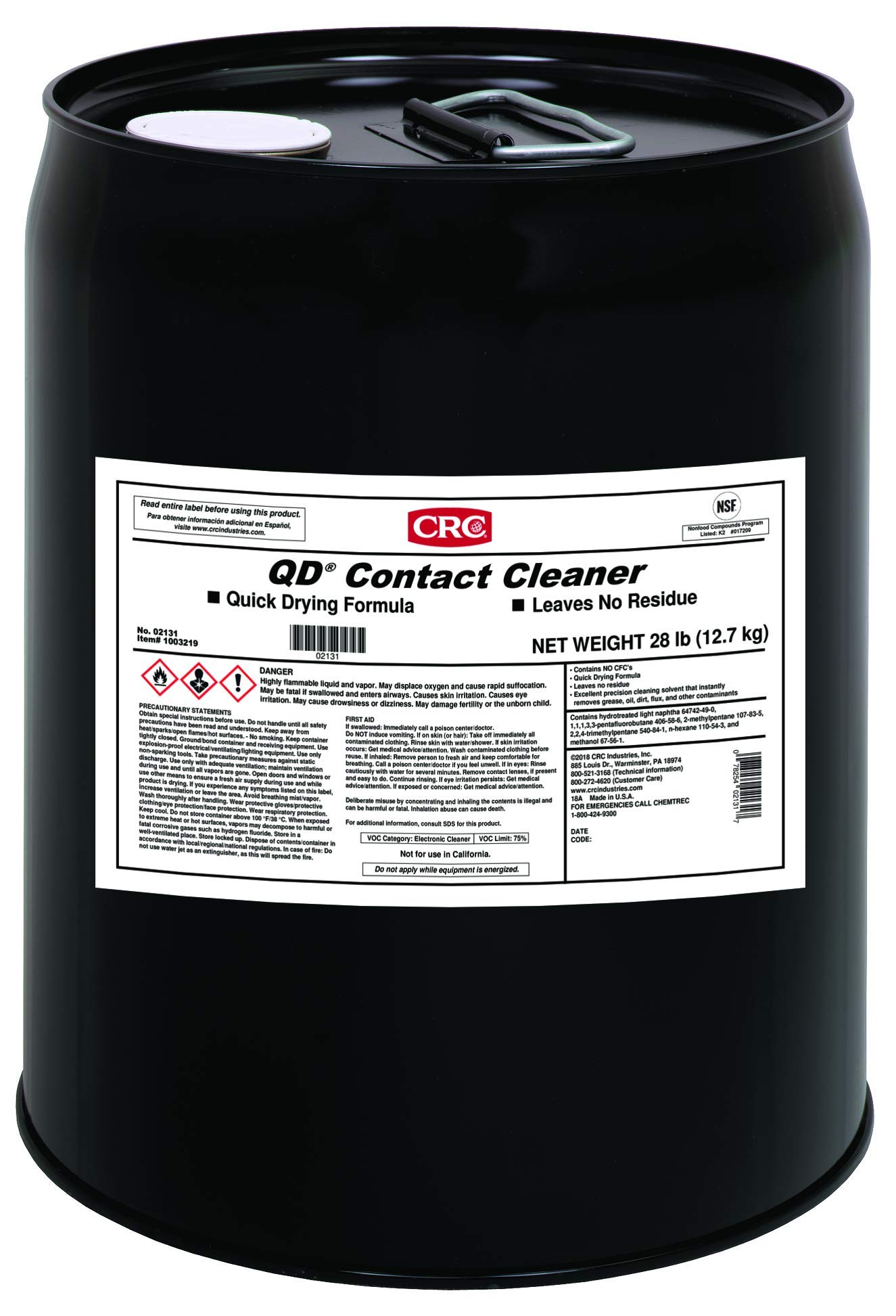 CRC QD Plastic Safe Liquid Contact Cleaner, 5 Gallon Pail, Clear by CRC