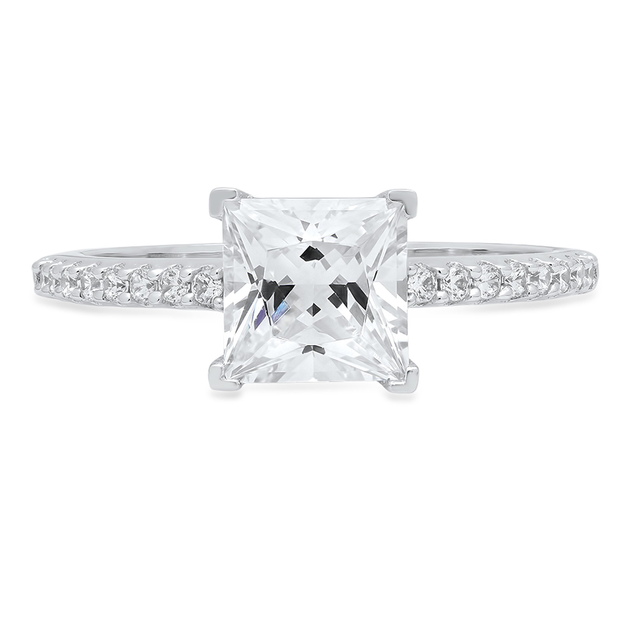 1.66 ct Brilliant Princess Cut Simulated Diamond CZ Designer Accent Solitaire Wedding Bridal Promise Ring in Solid 14k White Gold
