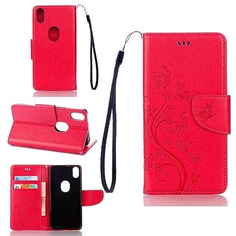 pinlu Funda para BQ Aquaris X5 Plus (5 Pulgada) Función de Plegado Flip Wallet Case Cover Carcasa Piel PU Billetera Soporte con Ranuras Mariposa ...